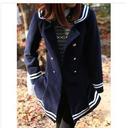 Wholesale-winter Japanese style lovely pea coats women