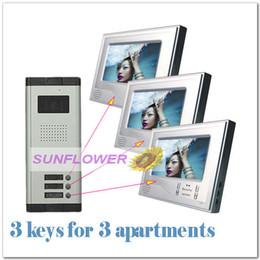 Systèmes d'interphone de portier vidéo en Ligne-Commerce de gros de sonnette de Porte vidéo/système de porte d'entrée/porte de téléphone, système intercom ( 7 pouces écran couleur+3keys caméras) pour 3 appartements de livraison gratuite