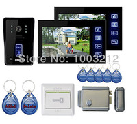 "Cheap Wholesale-New 7"" Color Hands Free Video Door phone with 2 Monitors(RFID keyfobs,Electronic Controlling Lock)"