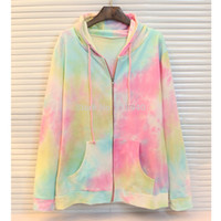 tie dye hoodies - Women Lady Galaxy Space Sweatshirt Tie Dye Zip Up Hooded Hoodie Jacket Fashion