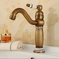 antique brass bathroom faucet - Antique Brass Deck Mounted Bathroom Faucet Ceramic Style Vanity Sink Mixer Tap