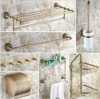 Wholesale And Retail Promotion Antique Brass Bath Accessory Sets Bath Shelf Towel Rack Bar Paper Holder Hooks