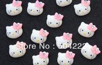 Cheap Wholesale-200pcs lovely kitty w rhinestone bow kawaii resin Cabochons 15mm hair clips, embellishment, DIY SZ0234