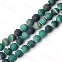 Venta por mayor-venta por mayor 6-10mm pulido mate Verde Natural raya ágata piedra Onyx gema redondo granos flojos la manera joyería de perlas
