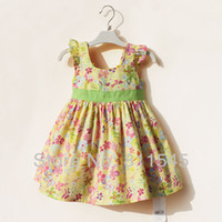 Cheap Wholesale-Flower Casual Vestido Infantil Girl Dress for 2015 New Summer Baby Outfits Wear Kids Clothes Toddler Boutique Clothing Bebe Wear