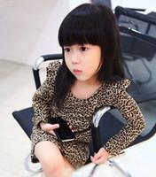 al por mayor vestidos de las muchachas de los niños de la manera leopardo-Al por mayor-Nuevo bebé Chirld muchacha leopardo de la manera impresas niños de vestir de manga larga QZ187 la ropa del vestido del resorte del otoño