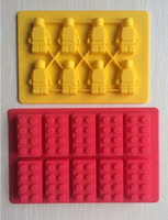 baking pans types - One Set Lego and Robot type Muffin Sweet Candy Jelly fondant Cake chocolate Mold Silicone tool Baking Pan B183