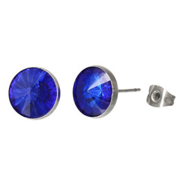 Stainless Steel Earrings Post Studs Round Silver Tone Royal Blue Rhinestone 11.0mm,5 Pairs 2015 new