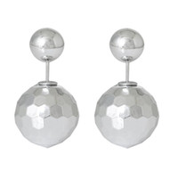 acrylic stopper - Acrylic Earring Post Studs Double Sided Ball Beads Silvery White Faceted With Stoppers mm Pairs new