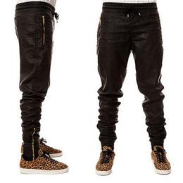 Wholesale-Top Quality Mens Leather Pants Gold Zipper HipHop Pants Trackpants Perfect Fit Slim Motorcycle Leather jogger Pants EUR Size
