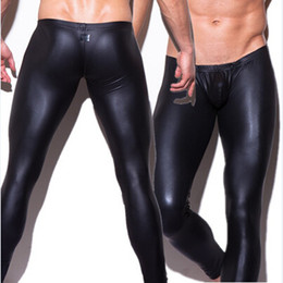 Wholesale-1pcs mens N2N brand long pants tight fashion hot black Faux leather sexy boxer underwear sexy panties trousers wholesale