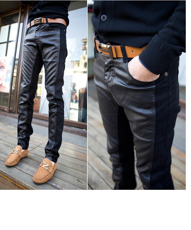 Кожаные джинсы мужские