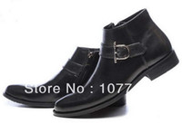 work boots for men - Italian Fashion Mens Black Ankle Dress Boot Buckle With Zip Work Safety Leather Shoes For Men Size Comfort Office Shoe G121910