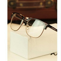 Reading Glasses - Metal half rim frame glasses retro men reading Glasses UV protection glass without magnification