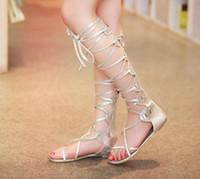 Wholesale New Fashion Women gold silver cross straps Tall flat heel knee high gladiator sandals novos moda sandalia gladiadora