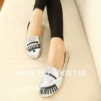 Cheap Wholesale-2015 Autumn new arrival VIVI new cat eye flats casual women's shoes special materials punk shoes 35-39 dx833