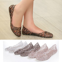 ballet w - fashion New Women summer Crystal Glitter Plastic Jelly Hollowed Flat Sandals Beach Ballet Flats
