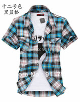 Wholesale Promotion new Fashion Double pocket plaid short sleeved shirts men casual slim fit shirts for men checked shirt M XXL
