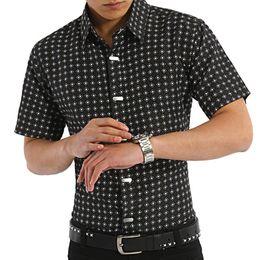Wholesale- Men's Summer New Short-sleeved Turndown Collar Cotton Shirt Casual Fashion Steel Buckles Design Men Shirts M-XXXL