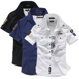 Wholesale- NEW short sleeve shirts Fashion airforce uniform military short sleeve shirts men's dress shirt free shipping
