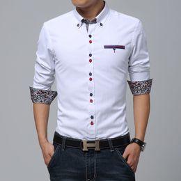 Wholesale-HOT!! Personality button brand Dress slim fit designer Casual men's shirts men white blue M~3XL Fashion High quality clothing