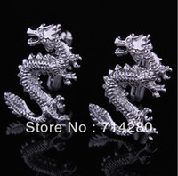 Cheap Wholesale-Luxury gold plated chinese dragon cufflinks French cuff cuff links men jewelry free shipping