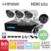 al por mayor venta al por mayor sistema de vigilancia de circuito cerrado de televisión-Sistema de mal tiempo mayor-8CH D1 HDMI MINI DVR 4PCS 600TVL IR al aire libre cámara de CCTV 24LEDs 500G HDD de Seguridad Kits de vigilancia