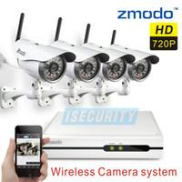achat en gros de zmodo caméras sans fil-Gros-Zmodo CCTV 4CH la vision de nuit sans fil 4 canaux de système de caméra vidéo de surveillance ip wifi 720p enregistreur NVR kit + Livraison gratuite