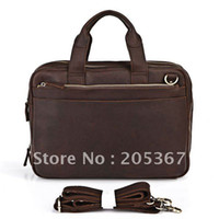 crazy horse leather - Crazy Horse Leather Men s Dark Brown Handbag Laptop Bag Messenger Briefcase R