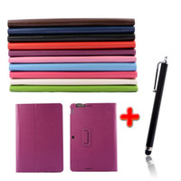 asus pen - Litchi Grain Leather Skin Folio Stand Cover Case For Asus Transformer Book T200 T200T T200TA Stylus Pen