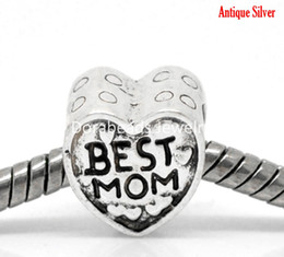 Wholesale Antique Silver quot BEST MOM quot European Charm Beads x10mm quot x quot Mother s Day Gift