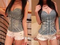 Cheap Wholesale-Free Shipping 2015 fashion sexy women's denim jeans bustier bra crop top tank vest flag print vest camis strapless corset