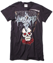 Wholesale Authentic Kanye west Yeezus Tour Merch Death God Skull logo Sickle And roses t shirt tee