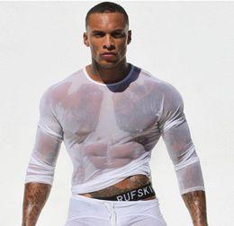 Wholesale fashion Sexy transparent breathable mesh Ultra thin gauze net Slim silk long sleeved T shirts for stylish man nightclub