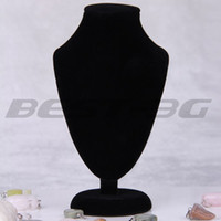 wood display - Wood Black Velvet Necklace Chain Jewelry Bust Display Holder Stand HOT