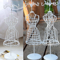 jewelry doll stand - Mannequin White Metal Doll Rack Earring Necklace Display Holder Charms Gift Girl Present Vintage Jewelry Stand Model