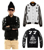 100% leather jackets - new fashion mens jackets and coats print Yezzy full leather sleeve Hip hop baseball jackets autumn winter outdoor wear
