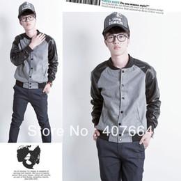 Wholesale freeshipping best quality fashion wheat it PU baseball coat Men jacket x55