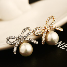 for women gold stud earrings fashion pearl jewelry earings exquisite bowknot ear cuff hypoallergenic brincos grandes pendientes