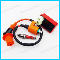 Cheap Wholesale-Ignition Coil & 6 pins Racing AC CDI Box & 3 Electrode Spark Plug A7TC For GY6 50cc 125cc 150cc Moped Scooter ATV Quad