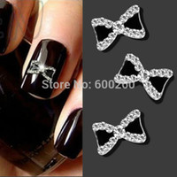 nail charms - PSC D Metal Rhinestone Bowknot women for Nail Art supplies gel nail charms jewelry Glitters Tips Decoration Manicure acrylic