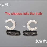 channel - 2015 NEW sterling silver stud double cc earrings for Women female cubic zircon diamond channel earings