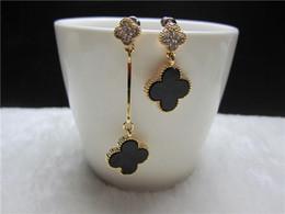 Wholesale for women gold earrings clover leaf AB long dangle earings fashion indian jewelry vintage brand crystal brincos grandes