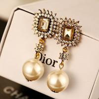 big gold dangle earrings - for women gold long dangle earrings vintage fashion big pearl jewelry earings retro temperament drop earrings channel brand