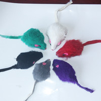 Wholesale Pet Toy Cat Toy Real Rabbit Fur Mouse For Cat with Rattle Drop Shipping CM T1029
