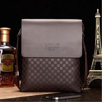 Wholesale Men Genuine Leather Briefcase messenger bag classic plaid leisure business bag mens shoulder bags