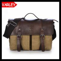 leather canvas laptop bag - British vintage washed canvas Men s handbag casual bag men shoulder messenger bag laptop bags Totes large briefcase