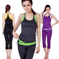 Cheap Wholesale-sports clothes Workout sport wear fitness women yoga set Women's sets clothes suits vest Sweat Capri pants Sportswear for