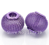 basketball earrings beads - mm Gold Silver Black Purpl Red Pink Mesh Ball Bead Basketball Wire Mesh Beads Fit Shamballa Earring