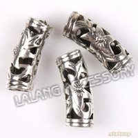 alloy tube bends - New Item Hollow Bend Tube Carved Flower Silvery Alloy European Big Hole Spacer Beads For Jewelry DIY mm